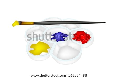 Red, Blue and Yellow Color Paint in Plastic Art Palette With A Craft Paintbrushes or Artist Brushes for Draw and Paint A Picture Isolated on White Background  - stock photo