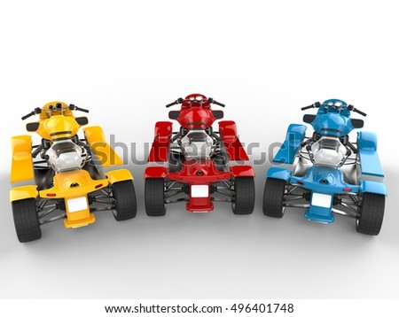 Red, blue and yellow modern quad bikes - top back view - 3D Render