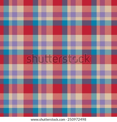 Red, blue, beige seamless tartan cloth pattern textures - stock photo