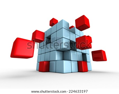 red blue cubes puzzle on white background. 3d render illustration