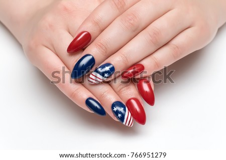 Red Blue Nails Design American Flag Stock Photo Edit Now 766951279