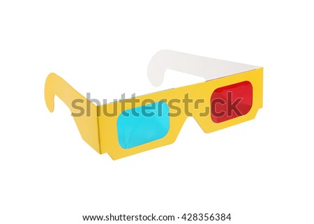 Red-blue paper glasses for view 3-dimensional films and images. Isolated on white background.  - stock photo