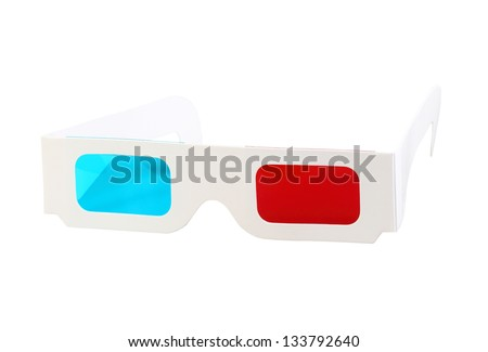 Red-blue paper glasses for view 3-dimensional films and images. Isolated on white background. Close-up. Studio photography. - stock photo