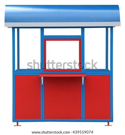 Red blue popcorn kiosk street market stall - stock photo