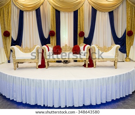 Red blue wedding stage - stock photo