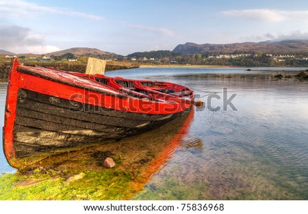 Red boat at Mulranny bay in Irish Co. Mayo - HDR