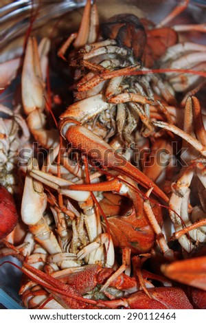 Red boiled crayfish closeup background