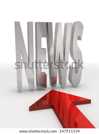 Red  bold communication 3d graphic with bold news icon with red arrow