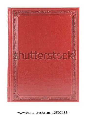 Red book isolated on white background. Blank hardcover. - stock photo