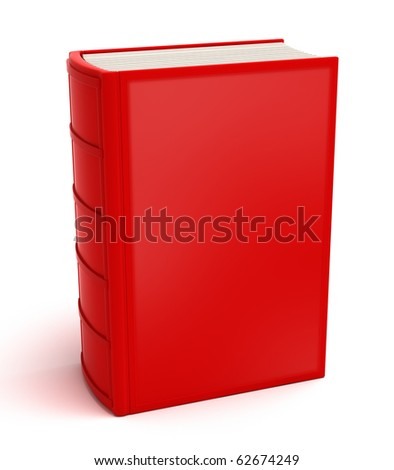 Red book isolated on white . Clean cover - stock photo