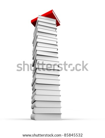 Red book on top of the stack - stock photo