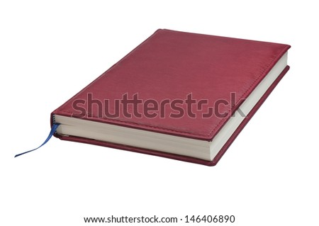 Red book on white background.
