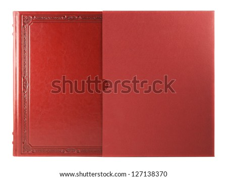 Red book with blank hardcover. Isolated on white - stock photo