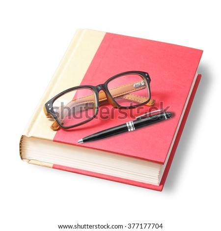 Red book with glasses and pen isolated on white background - stock photo