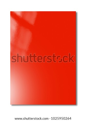 Red booklet cover isolated on white background, mockup template