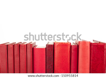 red books in a row with place for your text - stock photo