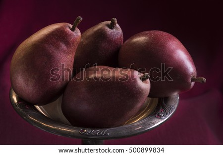 Red Bosc Pears on a Silver Tray