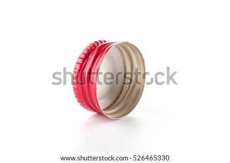 Red bottle cork on white background