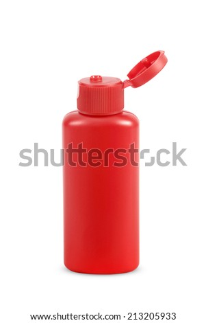 red bottle for lotion gel  isolated on white background