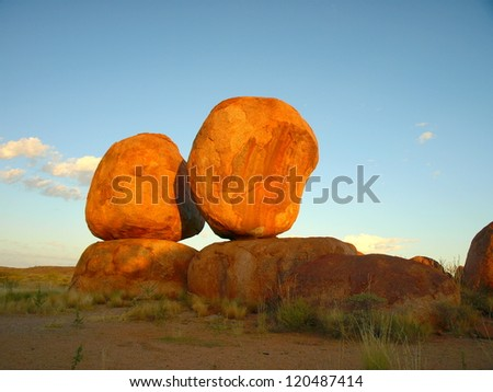 Red boulders in the Devils Marbles, Northern Territory, Australia - stock photo