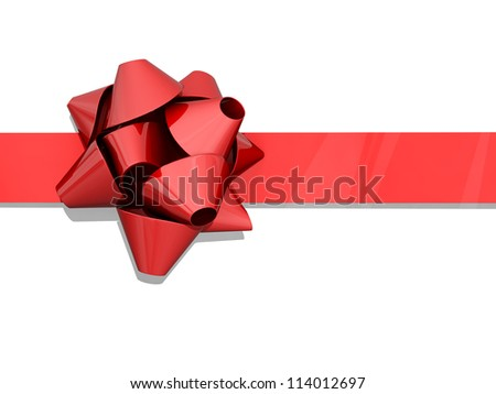 Red bow and ribbon on a white background.