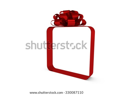 Red bow and ribbon present - stock photo