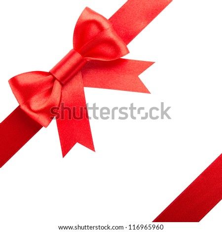 Red bow and ribbons - stock photo