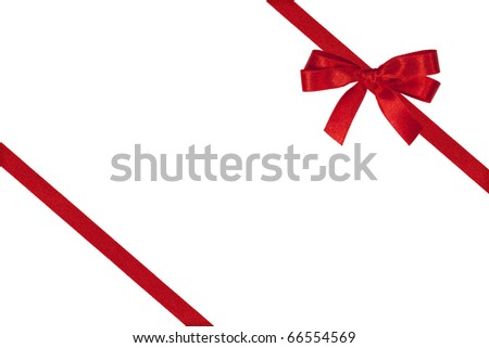 Red bow and two slanting ribbons isolated on white. - stock photo