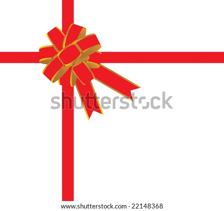 Red bow for packing of a Christmas gift isolated on white