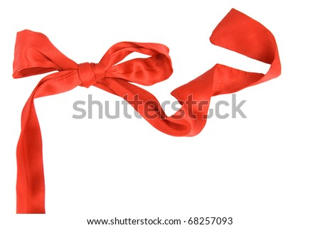 Red bow, is isolated on a white background