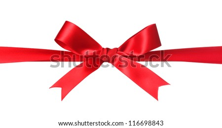 Red bow isolated on white