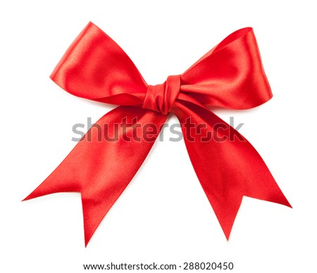 Red bow isolated on white background.
