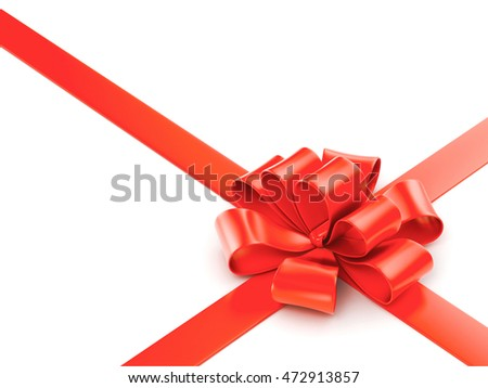 Red bow isolated on white background, 3d illustration