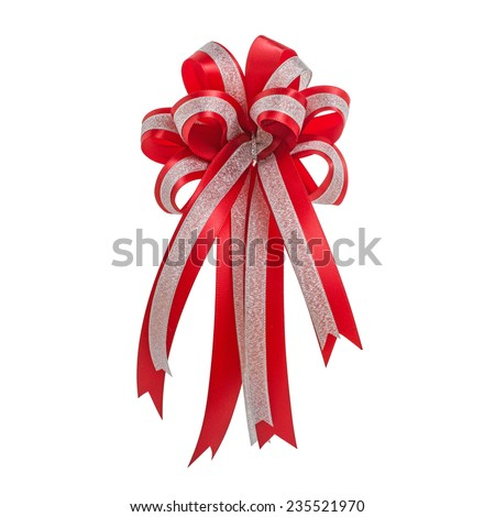 Red Bow isolated on white. Clipping Path Included - stock photo