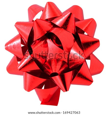 Red bow isolated on white with clipping path
