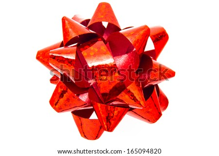 Red bow on a white background - stock photo