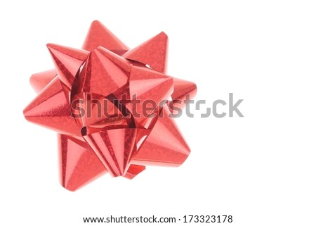 Red Bow on White Background with no Shadows