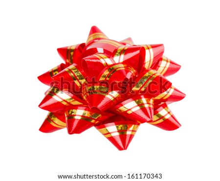 red bow ribbon isolated on white background