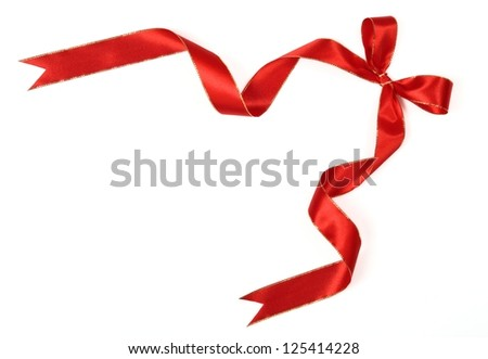 red bow ribbon on white background - stock photo