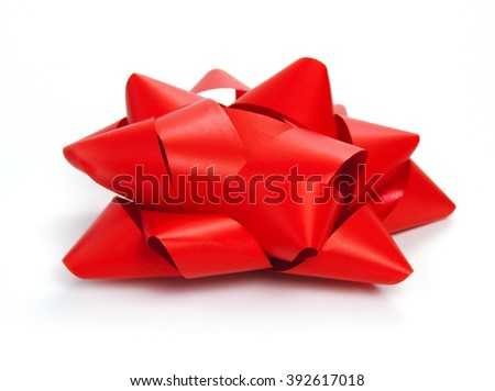 Red bow, side view shot. Isolated on white.