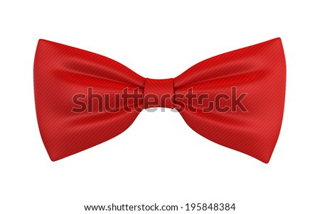 Red bow tie. 3d illustration isolated on white background  - stock photo
