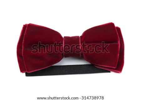 Red bow tie. Isolate on white. - stock photo