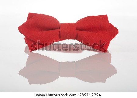 Red bow tie on a white background - stock photo