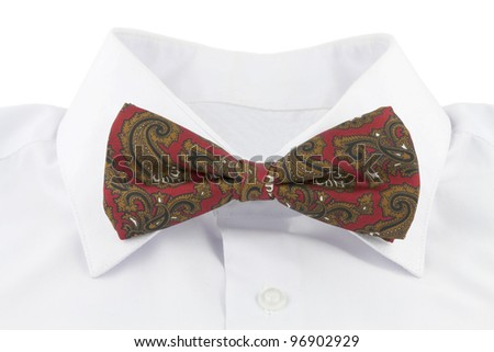 Red bow tie on the white shirt isolated on white background - stock photo