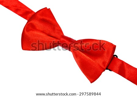 Red bow tie on white background - stock photo