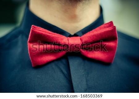 Red Bow Tie Black Shirt Closeup Stock Photo 168503369