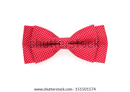 red bow tie with white polka dots isolated on white background - stock photo