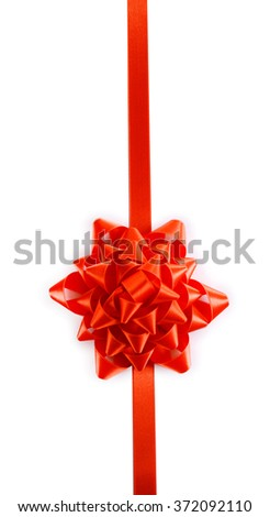 Red bow with ribbon isolated on white background - stock photo