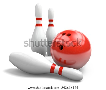 Red bowling ball and pins over a white background - stock photo