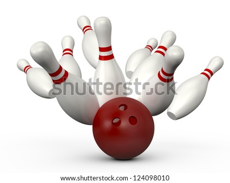 Red bowling ball crashes into the bowling pins with red stripes, isolated on white background. - stock photo